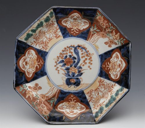 stylish_antique_japanese_imari_octagonal_floral__bird_panel_plate_19th_c